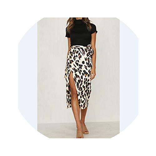 (bb-4 Women Chiffon Leopard Print Maxi Skirt High Waisted Summer Long Skirts Fashion Leopard Skirts,2,M)