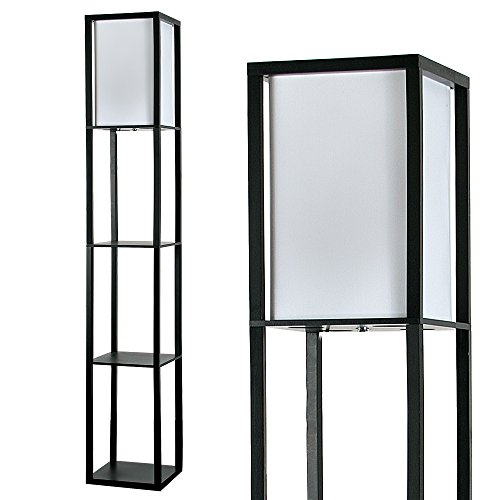 Modern Black Wooden & White Fabric Floor Lamp with Built in Shelving Units