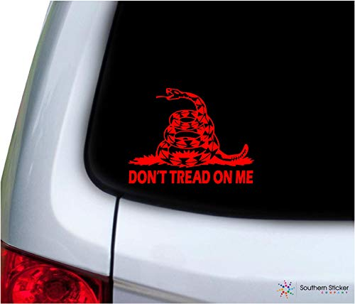 Southern Sticker Company Don't Tread on me Snake with Text 3.9x5.1 inches Size Gadsden Flag Marines Vinyl Laptop car Window Truck - Made and Shipped in USA (red)