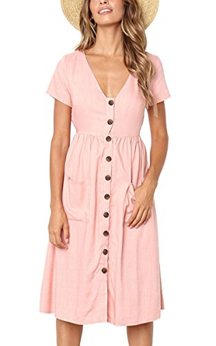 Angashion Women's Dresses-Short Sleeve V Neck Button T Shirt Midi Skater Dress with Pockets Pink L ()