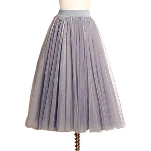 Women's A Line Elastic Waist Layered Mesh Tulle Long Maxi Skirt M/L (Elastic Waist Mesh Skirt)