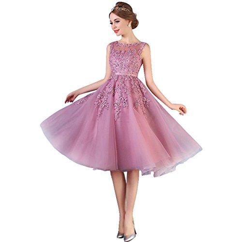 Band Cocktailkleid Altrosa Damen Tüll Spitze Babyonline Applique Rosa Perlstickerei Schärpe Abendkleid avqFzwn0