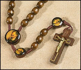 Rosary Prayer Cards (Saint St Padre Pio Pietrelcina 10MM Wood Bead 19