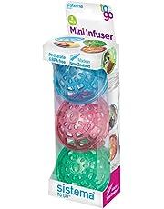 Sistema Mini-Infuser To Go 3 stuks, kunststof, groen/roze/blauw, 5,4 x 5,2 x 3,2 cm