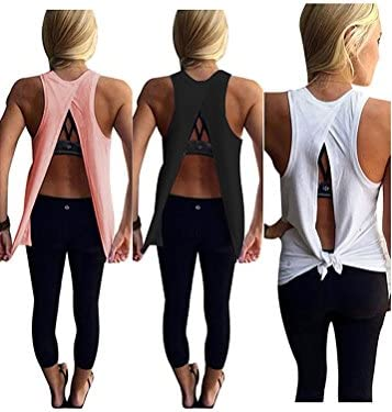 Mazonyi Women's Open Back Yoga Tank Sleeveless Off Shoulder Workout T Shirt Backless Crop Tops Workout Clothes Size XS-XXL