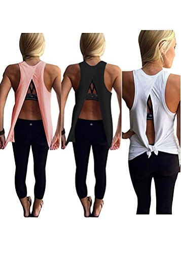 Mazonyi Women's Summer Sexy Soft Lightweight Backless Workout Shirt Yoga Tank Top Loose Casual Cotton Performance Sleeveless Tunic Top Solid White Black Pink Large Pack of 3