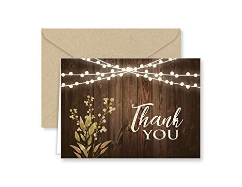 Paper Frenzy Rustic Wedding Thank You Note Cards with Kraft Envelopes - 25 pack -