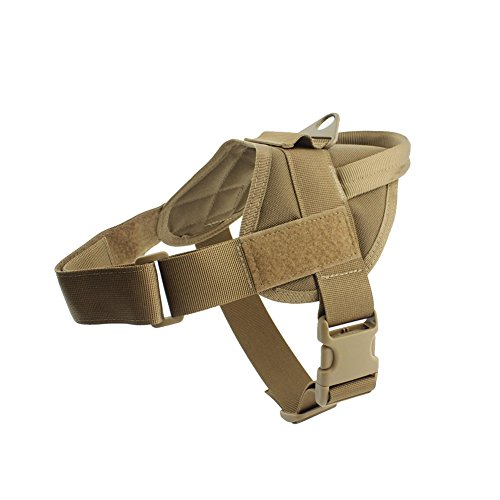 Yunlep Tactical K9 Dog Vest Harness Service Dog Vest Nylon Patrol Training Harness for Dog Outdoor Sports (L, Coyote Brown) (Sports Vest Harness)