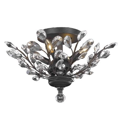 Flush Mounts 4 Light With Clear Crystal Royal Cut Dark Bronze size (20 Bronze Crystal)