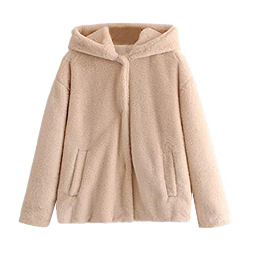 Byyong Women's Coat Thickened Coat Solid Pockets Hooded Jacket Cardigan (L, Beige)