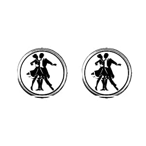 Chicforest Silver Plated Dance themes Waltz Dancer Photo Stud Earrings 10mm Diameter