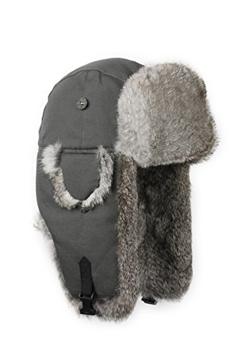 Mad Bomber Canvas Mad Bomber, Grey Canvas with Grey Rabbit Fur, Small