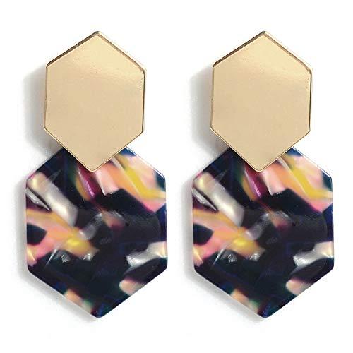 Artilady Acrylic Resin Hoop Earrings - Tortoise Shell Earrings for Women Boho Jewelry, Great for Sister, Friends, mom (Floral)