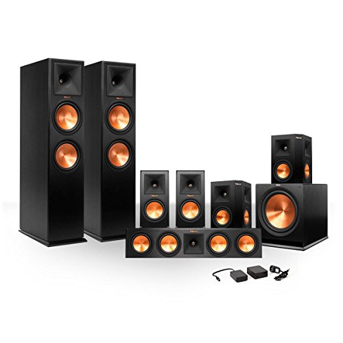 Klipsch 7.1 RP-280 Reference Premiere Surround Sound Speaker Package with R-115SW Subwoofer and a FREE Wireless Kit (Black) by Klipsch