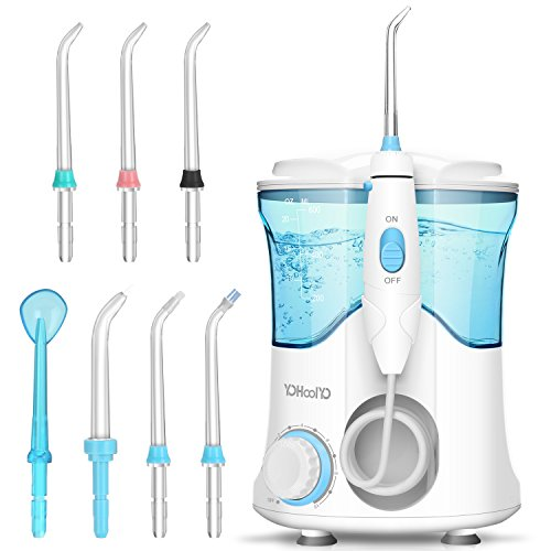 YOHOOLYO Water Flosser Oral Irrigator Dental Care for Teeth Braces and Bridges with 8 Jet Tips 600ML Capacity 10 Water Pressure Settings for Family Home and Travel Blue Storage Bag Include Review