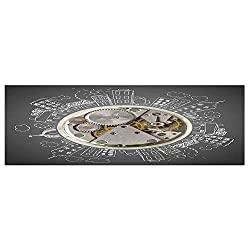 70.8x23.6 Removable Wall Mural Stickers,Clock Decor,an Alarm Clock Print with Buildings and Clouds Around It Checking The Time,Beige and White,Home Decor Prints Painting Artwork