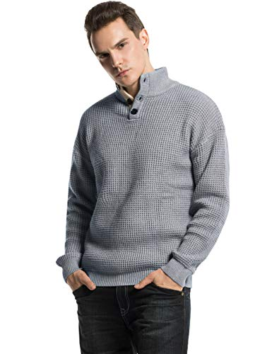 Lynz Pure Men's Mock Turtleneck Sweater Button Up Polo Cable Knit Sweater Pullover Tops Grey L