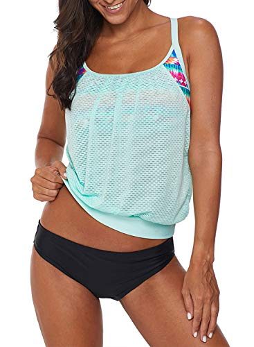 2 Piece Briefs - Dokotoo Womens Fashion Sporty Beach Summer Push Up Striped Layered Tankini Top with Brief Swimsuits Swimwear 2 Pieces Bathing Suits XX-Large