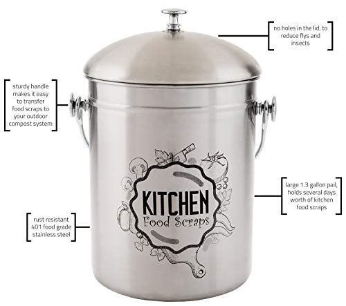 Kitchen Compost Bin Stainless Steel (Food Grade 410) Odorless Countertop Compost Pail -Bonus Charcoal Filters & Gardening Gloves. Insect-proof 1.3 Gallon bucket. Gift Boxed, and Gift Wrap available by Green Hills Health (Image #4)