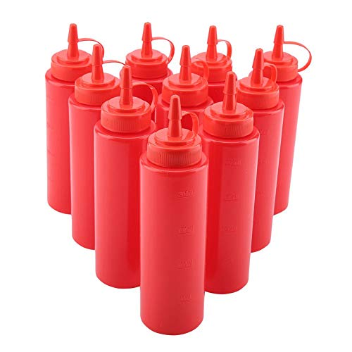 Multifunctional Plastic Tomato Salad Cream Vineger Squeeze Bottle Condiment Squeezing Tools Sauce Oil Dispensers with Detachable Cover for Ketchup Mustard Mayo Hot Sauces Olive Oil(Red)