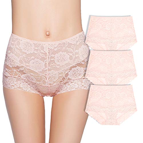 Eve's temptation 3 Pack Lily Women's High Waist Lace Panties Underwear Seamless Slimming Full Coverage Brief