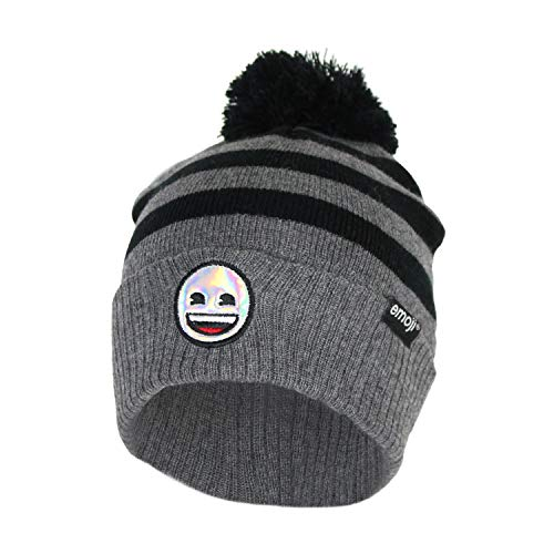 Face Happy Cap (Emoji Holographic Smiley Face Soft Stretch Marled Winter Beanie Hat with Pom Pom (Charcoal Striped Smile Emoji))