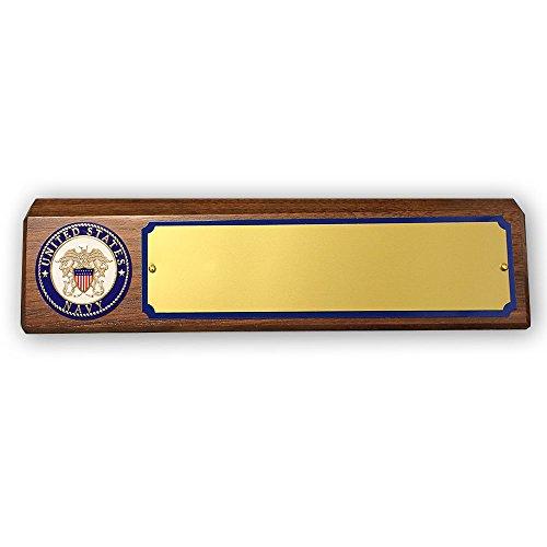 Customizable U.S Navy Desk Block Genuine Walnut, includes Personalization