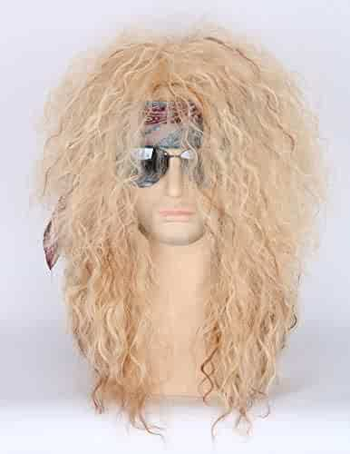 f81e58760eb87b Men or Women 80s Clothes Fashion Wig Rocker Mullet Metal Halloween Costume  Wig Blonde Curly