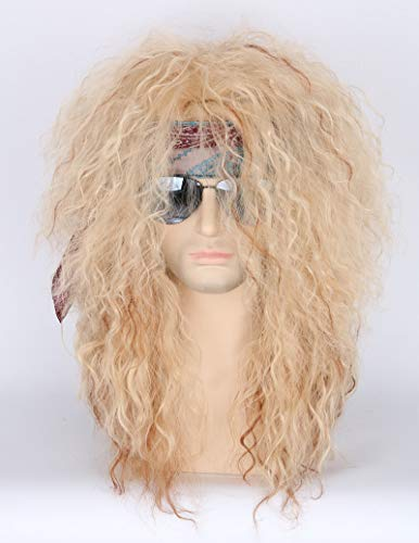 Men or Women 80s Clothes Fashion Wig Rocker Mullet Metal Halloween Costume Wig Blonde Curly]()