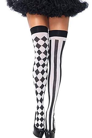 a60f39ee4e811 Damen Sexy Schwarz Weiß Harlekin Zirkus Clown Kostüm Halterlose Strümpfe  Socken