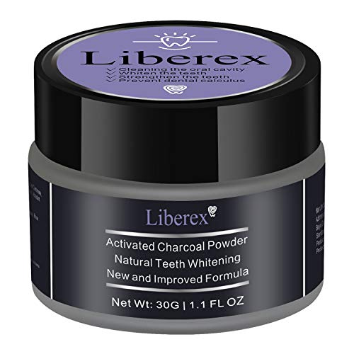 Activated Charcoal Teeth Whitening Powder - Liberex Natural Ultra Fine Teeth Whitener, Remove Tooth Stains and Freshen Breath for Sensitive Gum (1.1Oz/30g) (Mint)