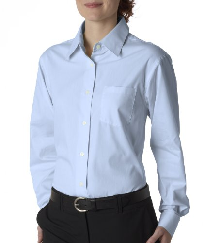 (UltraClub Women's Wrinkle Free Pinpoint Performance Dress Shirt, Light Blue, XX-Large)