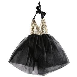 Baby Girls Sleeveless Party Tutu Dress Sequins Top Baby Pettiskirt (6-12 months, Black)