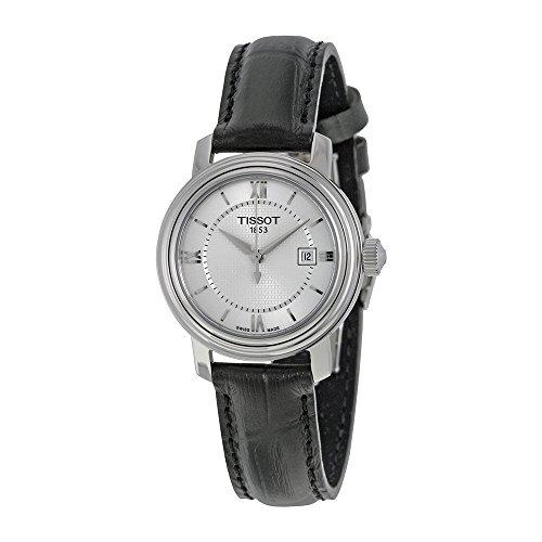 Tissot Bridgeport Quartz Silver Dial Black Leather Ladies Watch T0970101603800 - Bridgeport Leather