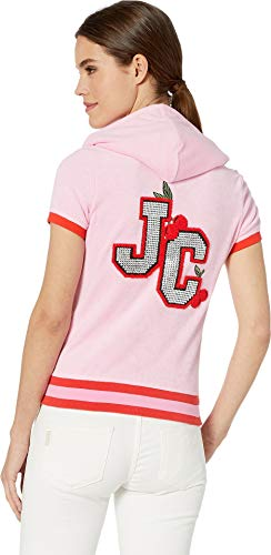 (Juicy Couture Women's Encrusted JC Microterry Short Sleeve Robertson Bikini Pink Petite/X-Small)