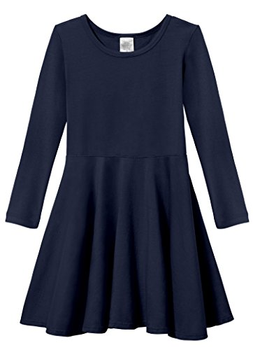 City Threads Little Girls' Super Soft Cotton Long Sleeve Twirly Skater Party Dress, Navy, (Girls Navy Blue Dress)