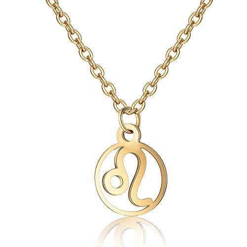 Funcok Trendy Gold Zodiac Charm Handmade Pendant Leo Necklace Jewelry Gift Friend ()