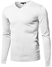 Men's Casual Solid Soft Knitted Long Sleeve V-Neck Sweater Top