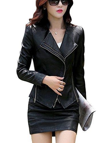 Tanming Women's Short Slim Slant Zip Faux Leather Moto Jacket Multiple Colors (Large, Black)