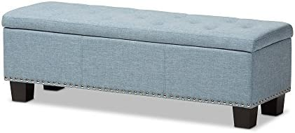Baxton Studio Sandrine Modern and Contemporary Light Blue Fabric Button-Tufting Storage Ottoman Bench
