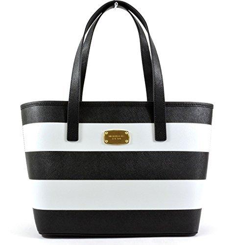 Michael Kors Jet Set Travel Stripe Saffiano Leather Small Tote, Black White by Michael Kors