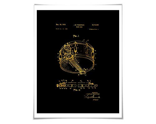 (Snare Drum Gold Foil Patent Illustration. 36 Colours. Music Poster. Drummer Art Print )