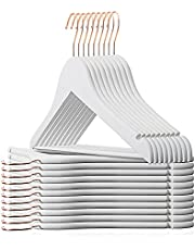 Smartor Wooden Hangers,Wood Coat Hangers,Heavy Duty Hangers for Coats with Rose Gold Hook,Natural Smooth Finish Premium Wood Hangers for Clothes Suit(20 Pack,White)