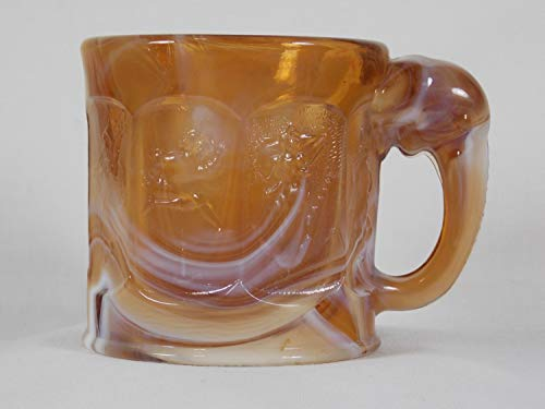 Imperial Glass Caramel Slag Glass Storybook Mug with Elephant Handle Nursery Rhyme Characters Glossy Chocolate Marble Glass USA Made ()