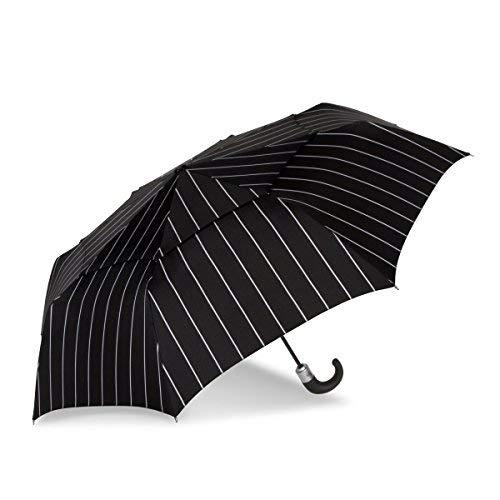 ShedRain WindPro Vented Auto Open/Auto Close Compact Print Umbrella: Capone Pinstripe ()