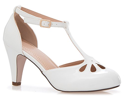 OLIVIA K Women's Low Heels Mary Jane Pumps - Adorable Vintage Shoes- Unique Round Toe Design With An Adjustable T Strap (Shoes White Vintage)