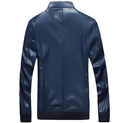 Long Outerwear Zhuhaitf Leather Casual Zipper Blue Mens Jackets Sleeve Faux Stile zOrqzY