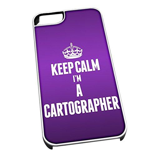 Bianco Custodia protettiva per iPhone 5/5S 2546viola Keep Calm I m A Cartographer