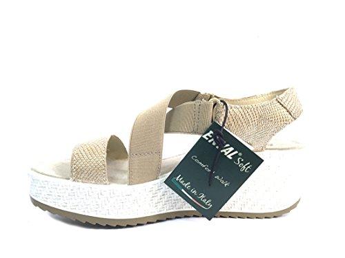 Pelle In Made Sandalo 7998 Scarpa Soft Italy Donna Zeppa Platino Enval 0FSpZq