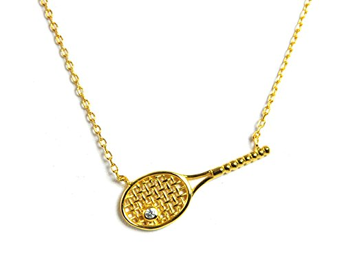 Gorgeous 18k Gold Plated Tennis Racquet Necklace with Crystal